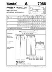 Burda - BD7966 Misses' Pants | Very Easy - WeaverDee.com Sewing & Crafts - 1