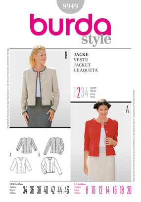 Burda - BD8949 Misses' Jacket | Easy - WeaverDee.com Sewing & Crafts - 1