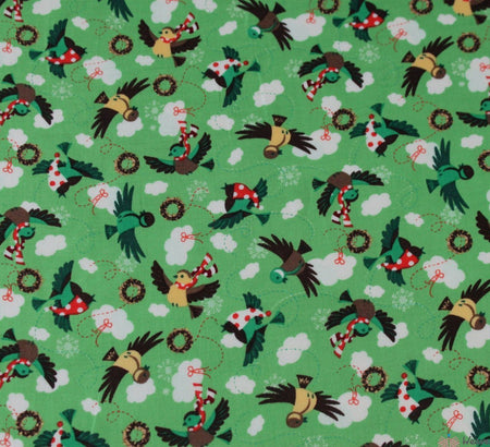 WeaverDee - Green Christmas Cotton Fabric - Birds & Wreath - WeaverDee.com Sewing & Crafts - 1