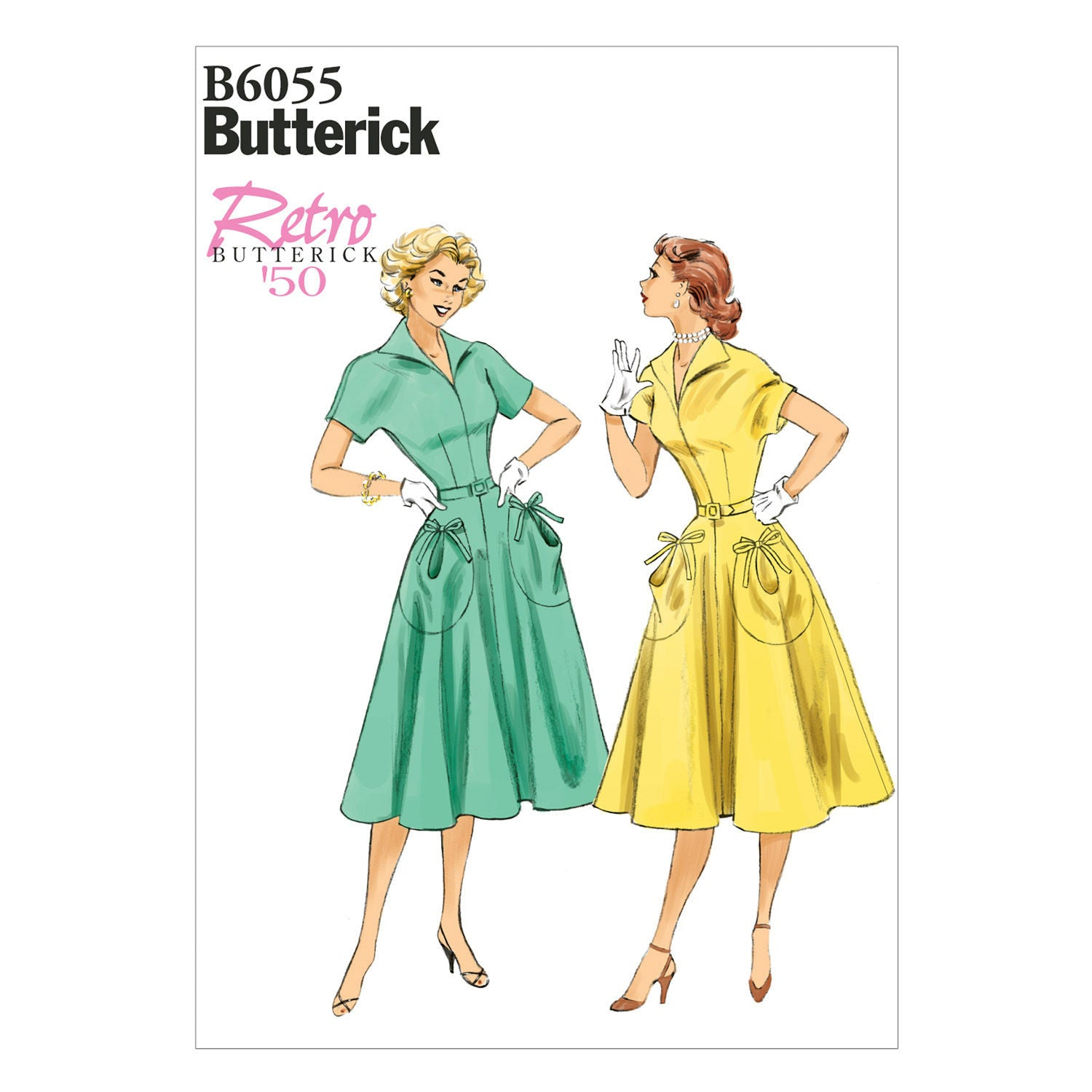 Butterick - B6055 Misses' Vintage 1950's Dress & Belt | Easy - WeaverDee.com Sewing & Crafts - 1