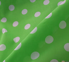 WeaverDee - Poly Cotton Fabric - Candy Spot White on Green - WeaverDee.com Sewing & Crafts - 1