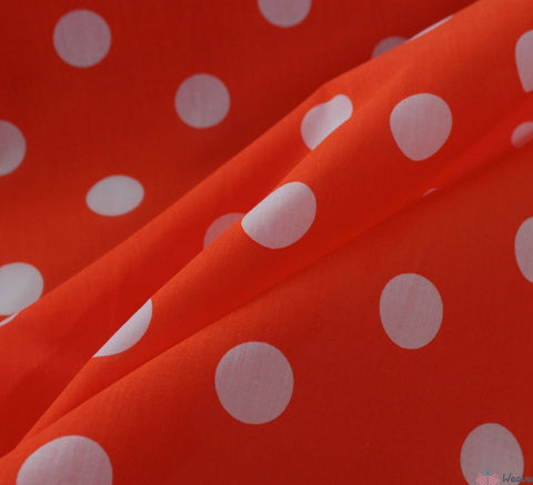 WeaverDee - Poly Cotton Fabric - Candy Spot White on Orange - WeaverDee.com Sewing & Crafts - 1