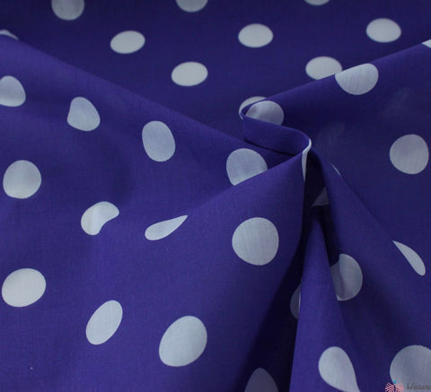WeaverDee - Poly Cotton Fabric - Candy Spot White on Purple - WeaverDee.com Sewing & Crafts - 1