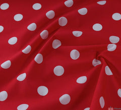 WeaverDee - Poly Cotton Fabric - Candy Spot White on Red - WeaverDee.com Sewing & Crafts - 1
