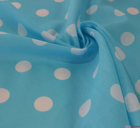 WeaverDee - Poly Cotton Fabric - Candy Spot White on Turquoise - WeaverDee.com Sewing & Crafts - 1