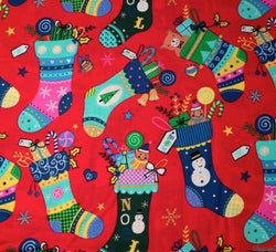 Rose & Hubble - Rose & Hubble Cotton Fabric - Christmas Stockings / Red - WeaverDee.com Sewing & Crafts - 1