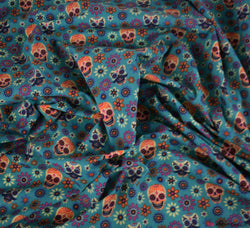 Poly Cotton Fabric - Floral Skulls Jade