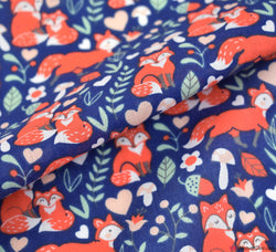 Poly Cotton Fabric - Fox Family Navy