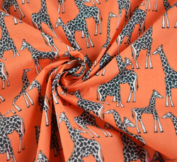 Premier Print Poly Cotton Fabric - Giraffe Orange