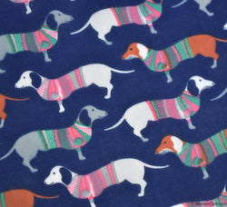 Poly Cotton Fabric - Hot Dogs Navy