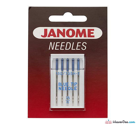 Janome - Blue Tip Embroidery Machine Needles Pack of 5 - WeaverDee.com Sewing & Crafts