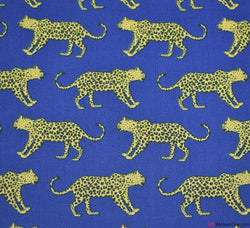 Premier Print Poly Cotton Fabric - Leopards Roaming Royal Blue