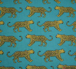 Premier Print Poly Cotton Fabric - Leopards Roaming Jade