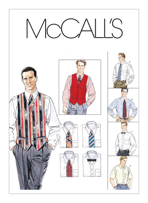 McCall's - M2447 Men's Lined Waistcoat, Button-Down Shirt, Tie & Bow Tie - WeaverDee.com Sewing & Crafts - 1