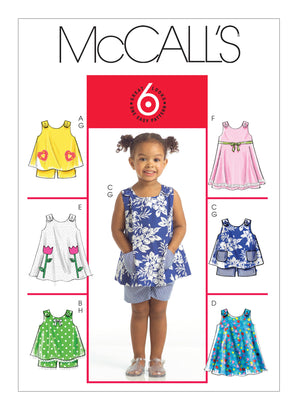McCall's Pattern M5416 Toddlers' Tops, Dresses & Shorts