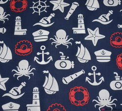 Poly Cotton Fabric - Marine Life (Navy & Red)