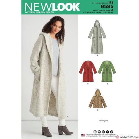 New Look Pattern NL6585 Misses' Coat with Hood