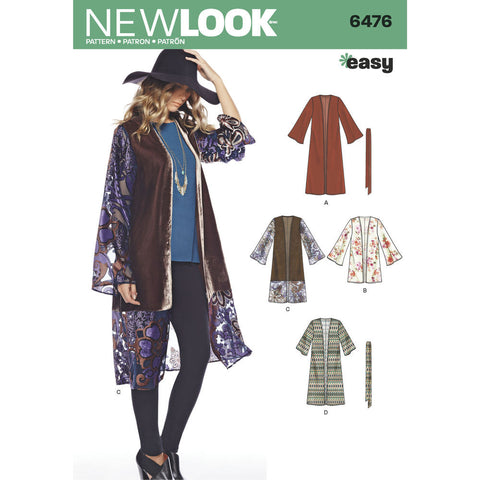 New Look - NL6476 Misses' Easy Kimono with Length & Sleeve Variations - WeaverDee.com Sewing & Crafts - 1