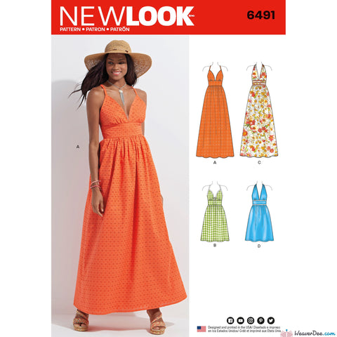 New Look - NL6491 Misses Dresses in 2 Lengths with Bodice Variations - WeaverDee.com Sewing & Crafts - 1