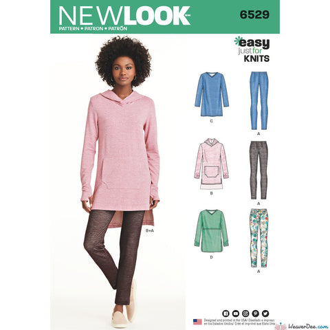 New Look Pattern NL6529 Misses' Knit Tunics & Leggings