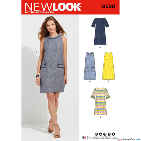 New Look - NL6500 Misses Dress with Neckline, Sleeve, & Pocket Variations - WeaverDee.com Sewing & Crafts - 1
