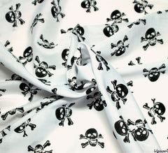 WeaverDee - Poly Cotton Fabric - Skulls Black on White - WeaverDee.com Sewing & Crafts - 1