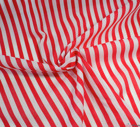 WeaverDee - Poly Cotton Fabric - Stripe Red - WeaverDee.com Sewing & Crafts - 1