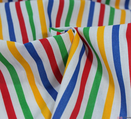WeaverDee - Polycotton Margate Candy-Stripe Fabric - Yellow / Blue / Red / Green - WeaverDee.com Sewing & Crafts - 1