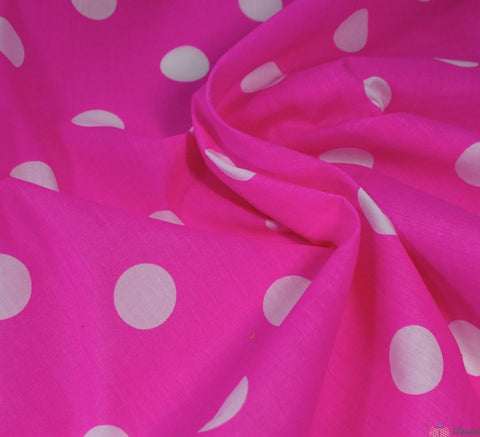 WeaverDee - Poly Cotton Fabric - Candy Spot White on Cerise - WeaverDee.com Sewing & Crafts - 1