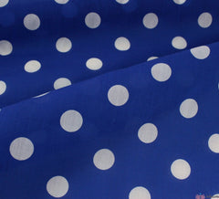 WeaverDee - Polycotton Candy-Spot Fabric - White on Royal Blue - WeaverDee.com Sewing & Crafts - 1