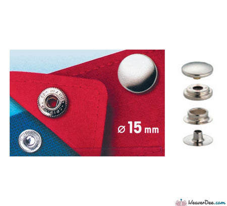 Prym - Press Studs (No-Sew) - Silver 15mm Mid weight: Pack of 100 - WeaverDee.com Sewing & Crafts - 1