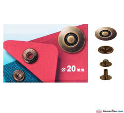Prym - Press Studs (No-Sew) - Antique Brass 20mm: Pack of 6 - WeaverDee.com Sewing & Crafts - 1