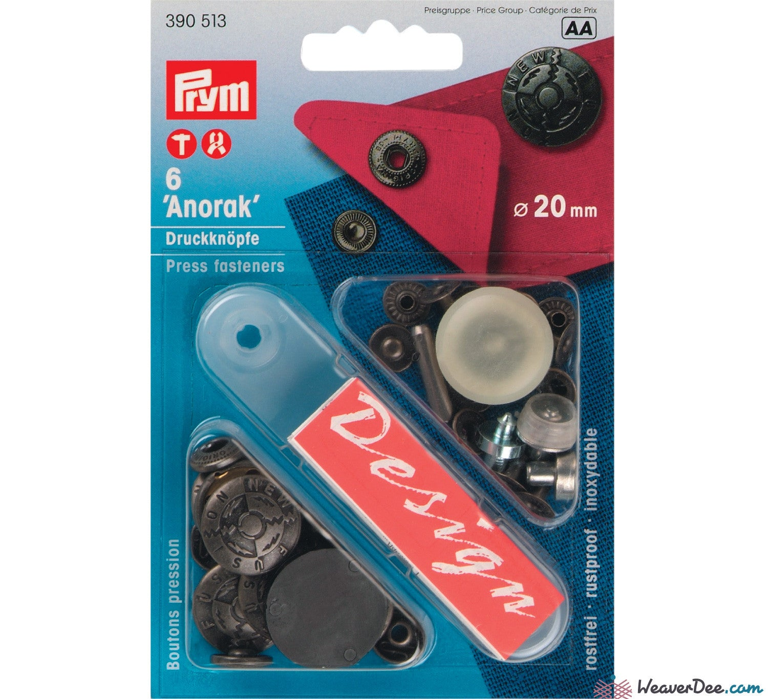Prym - Press Studs (No-Sew) - Silver, 'New fusion' 20mm: Pack of 6 - WeaverDee.com Sewing & Crafts - 1