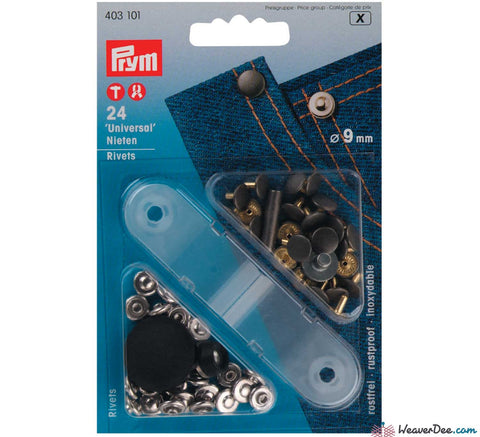 Prym - Jeans Rivets (No-Sew) Silver 9mm: Pack of 24 - WeaverDee.com Sewing & Crafts - 1