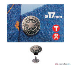 Prym - Jeans Buttons Antique Silver 17mm (No-Sew): Pack of 8 - WeaverDee.com Sewing & Crafts - 1
