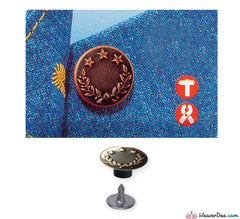 Prym - Jeans Buttons Antique Copper 17mm (No-Sew): Pack of 8 - WeaverDee.com Sewing & Crafts - 1