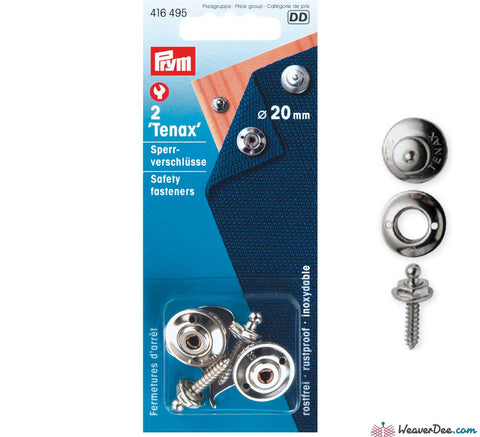 Prym - Press Studs (No-Sew) 'Tenax' Lockable - Silver 20mm: Pack of 2 - WeaverDee.com Sewing & Crafts