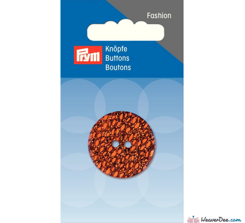 Prym - Glitter Button - Red & Gold on Orange 28 mm - WeaverDee.com Sewing & Crafts