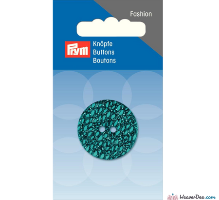 Prym - Glitter Button - Turquoise 28 mm - WeaverDee.com Sewing & Crafts