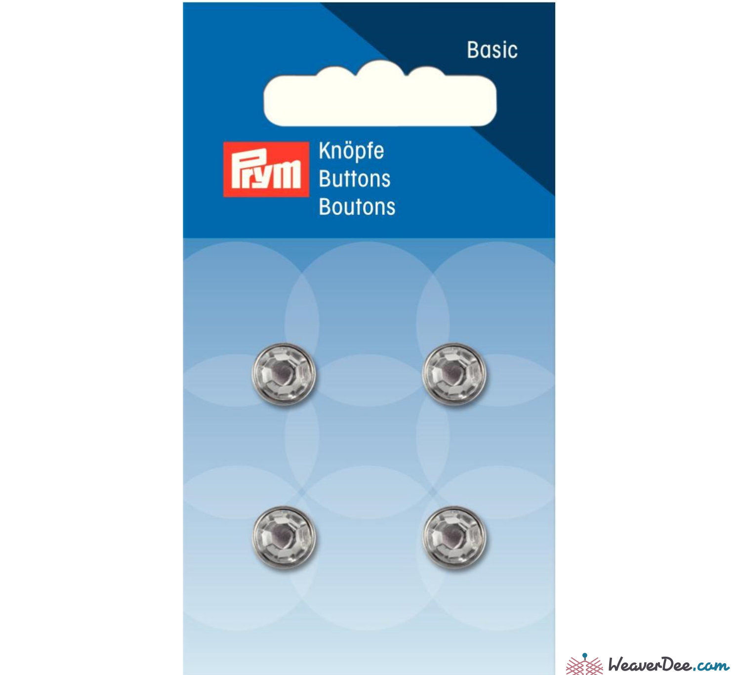 Prym - Crystal with Silver Ring Button 11 mm - WeaverDee.com Sewing & Crafts