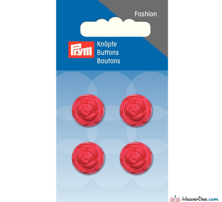 Prym - Rose Buttons - Red - WeaverDee.com Sewing & Crafts - 1