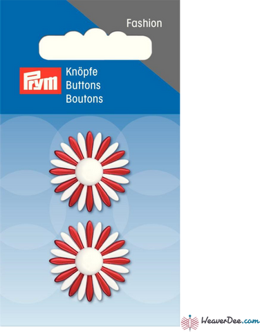 Prym - Daisy Petal Button - Red & White - WeaverDee.com Sewing & Crafts - 2