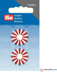 Prym - Daisy Petal Button - Red & White - WeaverDee.com Sewing & Crafts - 1