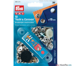 Prym - Press Studs (No-Sew) Caravan & Yacht - Silver 15mm: Pack of 10 - WeaverDee.com Sewing & Crafts - 1