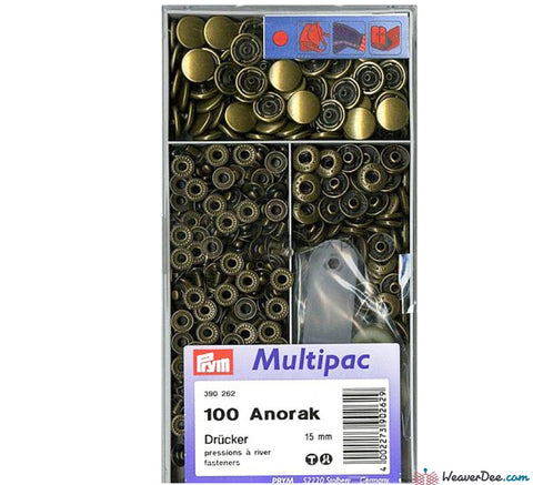 Prym - Press Studs (No-Sew) - Antique Brass 15mm: Pack of 100 - WeaverDee.com Sewing & Crafts - 1