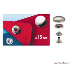 Prym - Press Studs (No-Sew) - Silver 15mm: Pack of 10 - WeaverDee.com Sewing & Crafts - 1