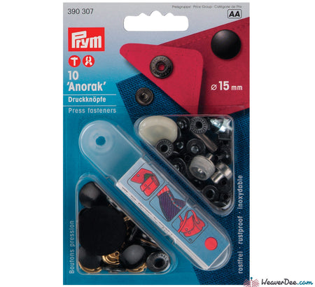 Prym - Press Studs (No-Sew) - Black 15mm: Pack of 10 - WeaverDee.com Sewing & Crafts - 1