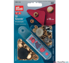 Prym - Press Studs (No-Sew) - Gold 15mm: Pack of 10 - WeaverDee.com Sewing & Crafts - 1