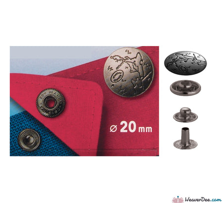 Prym - Press Studs (No-Sew) - Silver, Island Design 20mm: Pack of 6 - WeaverDee.com Sewing & Crafts - 1
