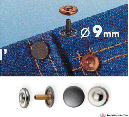 Prym - Jeans Rivets (No-Sew) Copper 9mm: Pack of 24 - WeaverDee.com Sewing & Crafts - 1